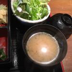 海華月 - 味噌汁はなめこ入り、美味い