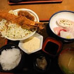 大阪炉端キッチンMARUDA-I - 大えびフライ+お刺身定食