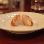 f - ヒメタラと山芋とギバサの揚げ物:豚の脂肪(ラルド)を添えて