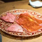 焼肉 うしみつ - ヒレの食べ比べ 常陸牛 仙台牛、サーロインの焼きすき