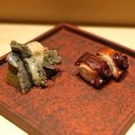 鮨 利﨑 - 煮あわび と 煮だこ