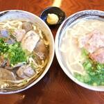 沖縄そば 金太郎 - 左:牛中身そば 右:軟骨ソーキそば
