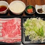 官兵衛 - 平日16時~19時牛豚しゃぶ定食¥1,500