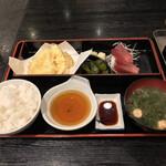 富水 - 富水(東京都江東区富岡)富水定食(並:刺身・天ぷら)900円