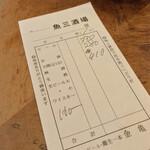 魚三酒場 - 魚三酒場 富岡店(東京都江東区富岡)伝票
