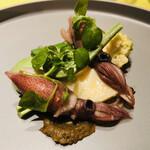 126956515 - 蛍烏賊と春山菜 こごみ 新筍 ロマネスコ 蕗の薹の味噌添え