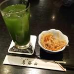 鳥海山 - 料理写真:お通しと宇治抹茶割り(*´>ω<`*)