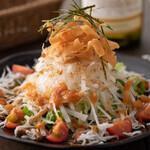 豆腐と揚げ玉の和風サラダ