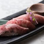 米沢牛黄木 金剛閣 すき焼き しゃぶしゃぶ 毘沙門 - 米沢牛寿司三種盛り