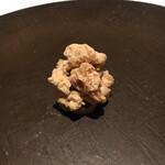 127021251 - フォアグラと奈良漬けのおかき!お箸で頂きます。