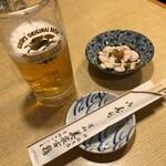 美家古鮨 - 生ビールとお通し