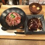 佰食屋 - ステーキ丼並 ハンバーグ 味噌汁 ¥1705税込