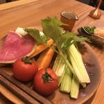 げんき - お通し〜トマト美味い