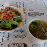 パデッラロッサ - セットのサラダとスープ
