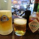 異風堂々 - クーポン利用の無料グラスビールと生ビールとビックサイズのタバスコ