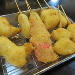 まっと - 料理写真:【うずら・玉ネギ・串かつ・ささみ・紅しょうが】