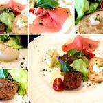 Caciucco - 前菜盛り合わせ。左手前より時計周りに豚ミンチのパテ、ライス・プディング、パルマ産の生ハム、カナッペ