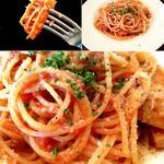 Caciucco - トリッパの辛いトマトソーススパゲッティ。見た目以上に濃厚です。