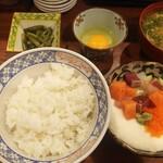魚祥 - 漁師のまかない丼950円 食べ方がよくわかりませんでしたが、量も多くお味噌汁も美味しかったです。
