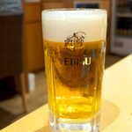 土佐清水ワールド - 飲み放題スタート、まずは生ビールで乾杯!