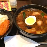 CoCo壱番屋 - ローストチキンスープカレー+カキフライ