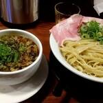 頑固麺 - 自家製生姜油薫る あっさり清湯 煮込みトロ肉軟骨つけ麺 1100円 〆の山椒ご飯付