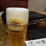 焼肉 哲 - ランチのグラスビール(300円)