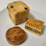 ファリナモーレ - 料理写真:月の雫の塩ガレット(200円)、くるみのサンド(280円)、ジャージー牛乳パン(150円)