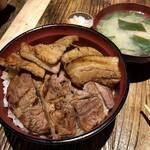 127267253 - 十勝帯広発祥 豚丼ミックス(バラ・肩ロース)大盛豚肉210g・飯400g税抜1680円