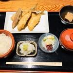 127289753 - 京ばし松輪のアジフライ定食/ライス/お味噌汁/大根おろし/小鉢/お漬物付き