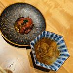 127295473 - 季節の前菜、黒毛和牛のユッケ