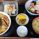 まつかさ食堂 - 料理写真:丼セット「かつ丼&刺身」