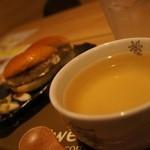 対馬バーガーKiYo - 【いりやきバ-ガ-】ス-プで食べる新感覚のご当地バ-ガ-。