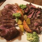 127405277 - チェリーバレー鴨胸肉のロティ&アンガス牛のグリエ