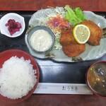 おうぎ亭 - 鮮魚フライ定食 700円(税込)。     2020.03.12