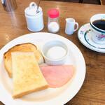 岡山珈琲館 - モーニング トースト&たまご 510円