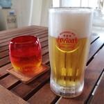 ハーヤナゴミカフェ - お冷とオリオンビール
