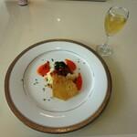 127466176 - みかんの食前酢、前菜 トルティーヤ ~サルサソース~ ベビーホタテと3種の野菜