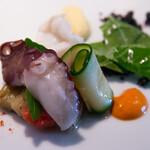 ビストロアム - 前菜水蛸と墨烏賊 夏野菜とパプリカのソース