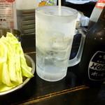 八幡宿駅前の串屋横丁 - 3冷のホッピーとお通しのキャベツ