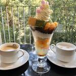 神椿 - 料理写真:神椿パフェ、コーヒー、カフェオレ