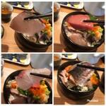 飯屋 いの吉 - 上  炙りサワラ・鮪 下  真鯛・真鯵