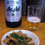 麺屋しぶ沫 - 瓶ビールとおつまみのメンマ(無料)