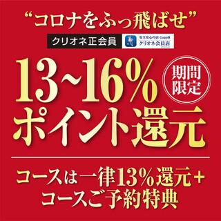 コロナを吹っ飛ばせ!【期間限定】13~16%ポイント還元!
