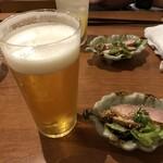 日本酒バルどろん - 生ビール&お通し