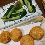 寿庵 - 梅きゅうと揚げかまぼこ