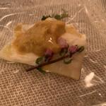 神田小川町 幻のイタリアン カンティーニ - 湯葉とウニと海ブドウ 一緒に食べたら美味!!