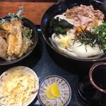 ぶっかけうどん 小野 - スタミナひやひや+天丼 ¥1,100-