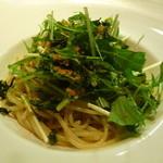 リョーモン - 水菜とあおさ海苔のペペロンチーノ、カラスミ風味