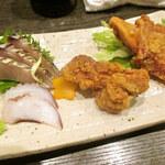居酒屋 かっぱ天国 - 佐島産直送地魚お刺身+若鶏唐揚げ